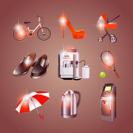 Foto de Diferentes objetos iconos, ilustración vectorial - Imagen libre de derechos