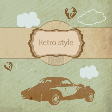 vintage sports car, vector illustration