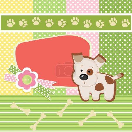 Illustration pour Carte d'anniversaire avec chien - image libre de droit