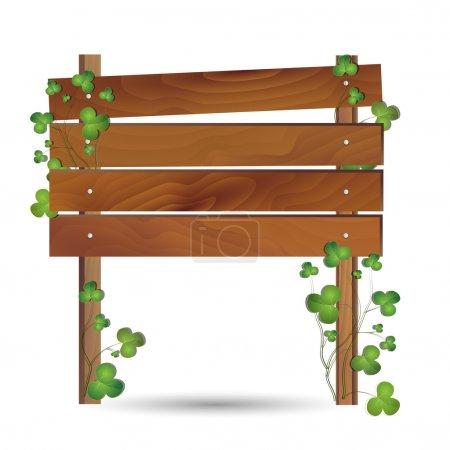 Illustration pour Illustration d'une planche de bois entourée de trèfles - image libre de droit