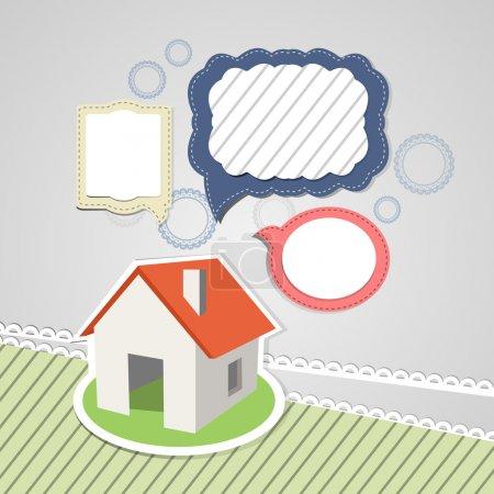 Illustration pour Maison avec bulles de parole - image libre de droit