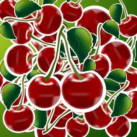 Illustration pour Cerises douces illustration vectorielle de fond - image libre de droit