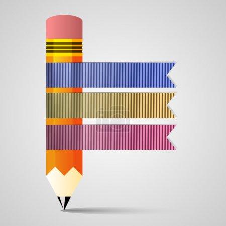 Illustration pour Modèle avec bannière de ruban de crayon - image libre de droit