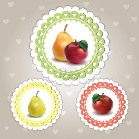 Illustration pour Jeu coloré de fruits - image libre de droit