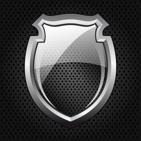 Black glossy shield, vector illustration