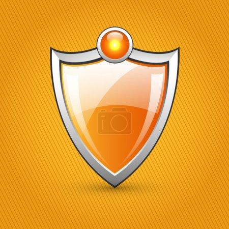 Orange glossy shield, vector illustration
