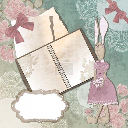 Carnet en papier vintage avec lapin