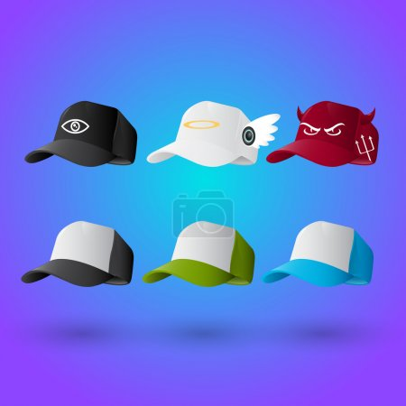 Illustration for Set of baseball caps - Royalty Free Image