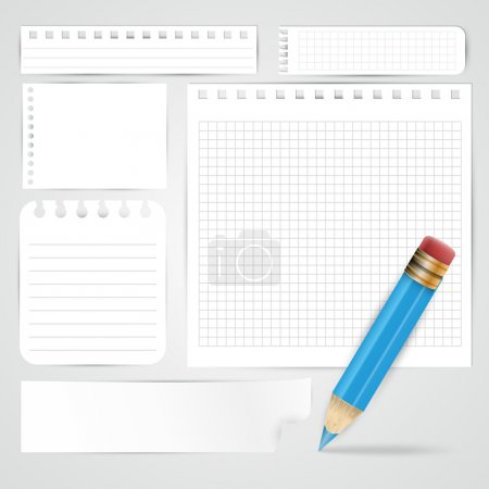 Blue pencil and paper sheets on grey background - vector