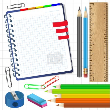 Close up of various school items.Vector illustration.