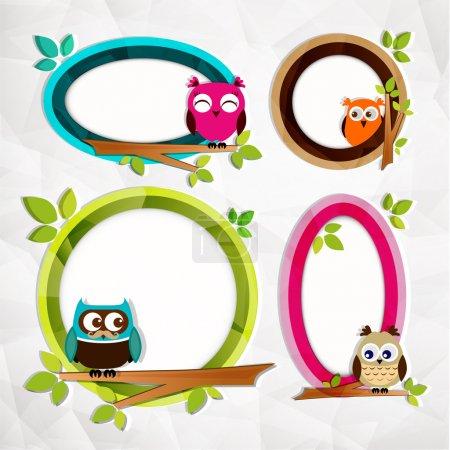 Set of three owls themed frames. Vector illustration