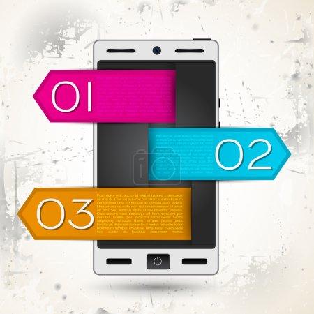 Illustration pour Téléphone intelligent blanc sur fond rétro whith 1 2 3 tegs - image libre de droit