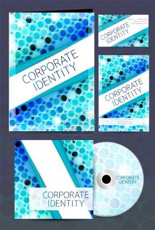 Illustration pour Le kit d'identité d'entreprise ou le kit d'affaires avec un design artistique abstrait en couleur bleue pour votre entreprise comprend une couverture de CD, une carte de visite et des dessins à en-tête de lettre au format EPS 10 . - image libre de droit