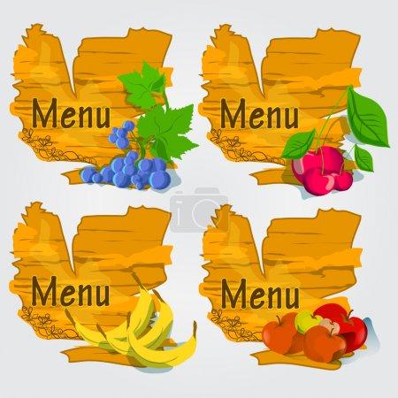 Illustration pour Illustration vectorielle - ensemble de fruits avec menu . - image libre de droit