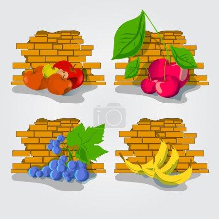 Illustration pour Divers Fruits bordure - illustration vectorielle sur fond blanc - image libre de droit