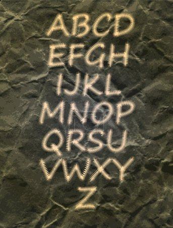 Illustration pour Alphabet sur fond noir - image libre de droit