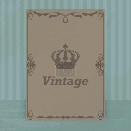 Illustration for Vintage crown on brown blue background - Royalty Free Image