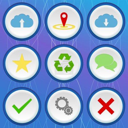 Illustration pour Ensemble de neuf icônes de couleur 3d avec différents signes sur fond bleu - image libre de droit