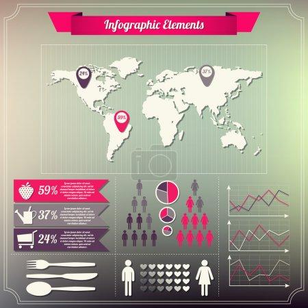 Illustration for Set of infographics elements Vintage style design - Royalty Free Image