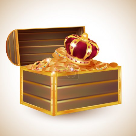 vector antique chest full of glimmering treasure, including a crown, gold coins illustration