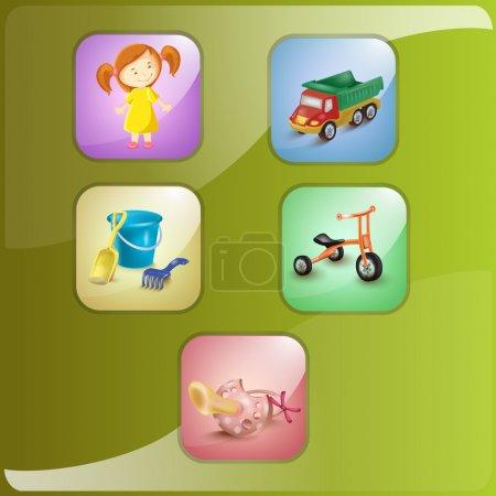 enfant et jouets. Illustration vectorielle. Icône