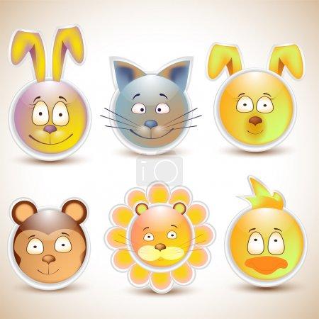 Illustration pour Collection de visages d'animaux heureux drôles et mignons souriants - image libre de droit