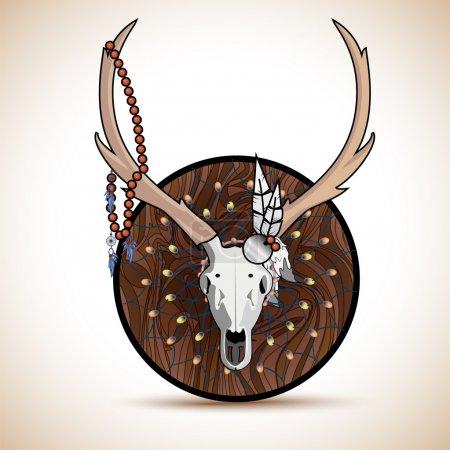 Illustration pour Cornes de cerf chasse trophée illustration fond vecteur - image libre de droit