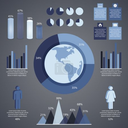 grey infographic elements and information graphic. Vector illustration