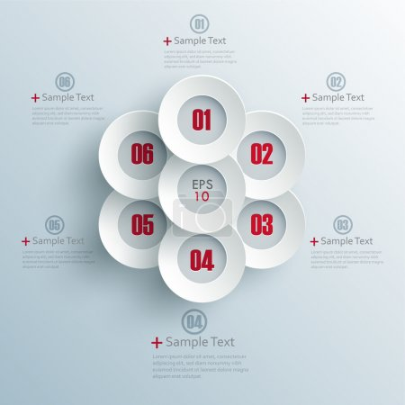 Illustration for Vector progress options one, two, three, four, five, six options - Royalty Free Image