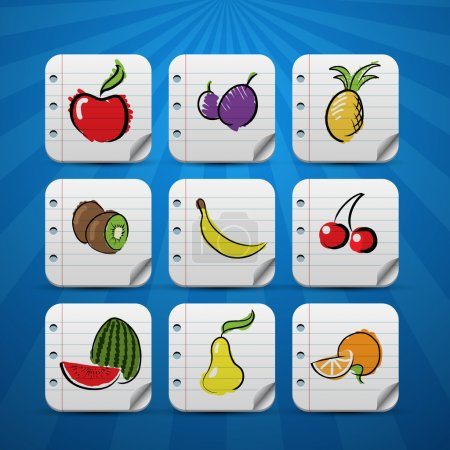 Set of fruits and vegetables icons