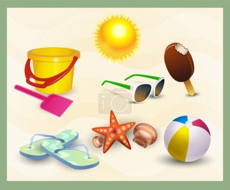 beach icons set. vector