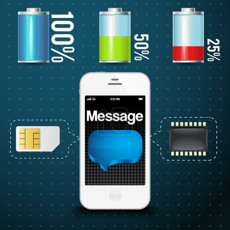 Vector modern mobile phone with sim card, memory card and various battery level indicators