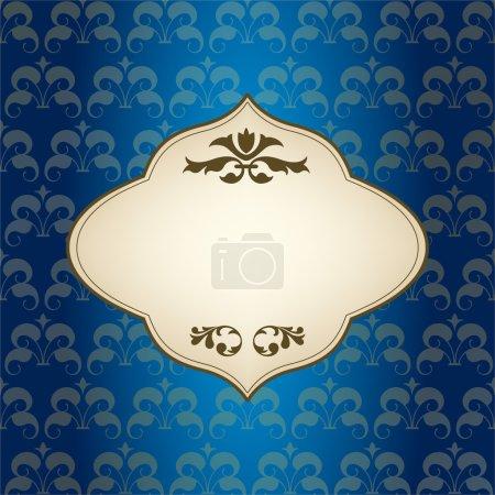 Illustration pour Design de cadre vintage bleu pour carte de vœux - image libre de droit