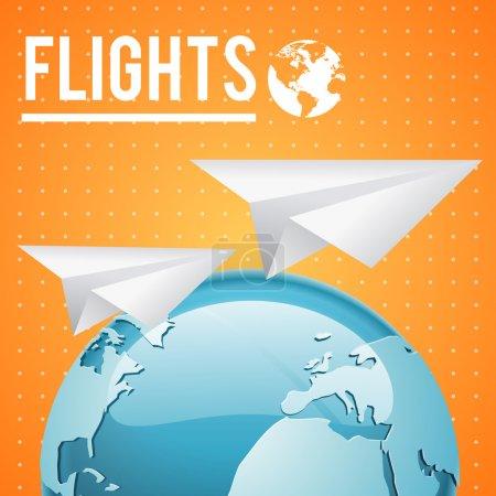 Illustration pour Vecteur Terre et deux avions en papier sur fond orange - image libre de droit