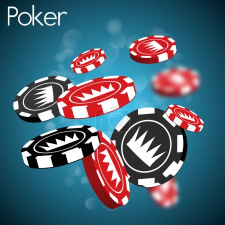 Illustration pour Jetons de poker avec couronne sur fond bleu - image libre de droit