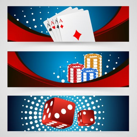 Illustration pour Illustration vectorielle poker jetons affiche. Collection poker avec jetons, dés, cartes - image libre de droit