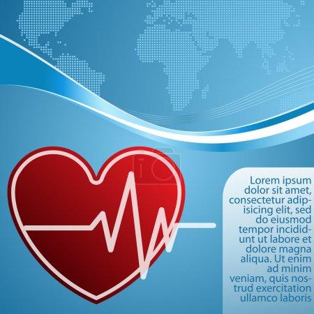 Illustration pour Coeur avec cardiogramme sur fond bleu - image libre de droit