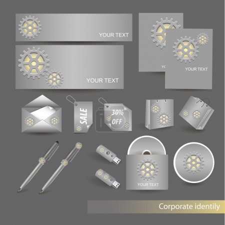 Office supplies - paper of different types, pens, USB flash drive and CD with cogwheel. Illustration on grey background.