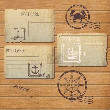 Illustration pour Cartes postales anciennes - lot de 3 modèles de cartes postales anciennes et timbres-poste - image libre de droit
