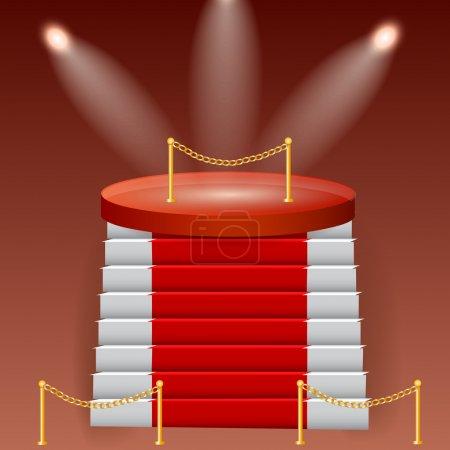 Illustration pour Podium rouge sur fond brun - image libre de droit