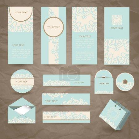 Set of vector vintage cards, envelope and package on brown background
