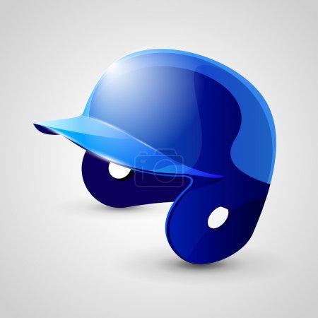 Illustration pour Casque de baseball bleu sur fond blanc - image libre de droit
