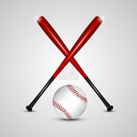 Illustration for Baseball bats and ball on a grey background. Vector illustration - Royalty Free Image