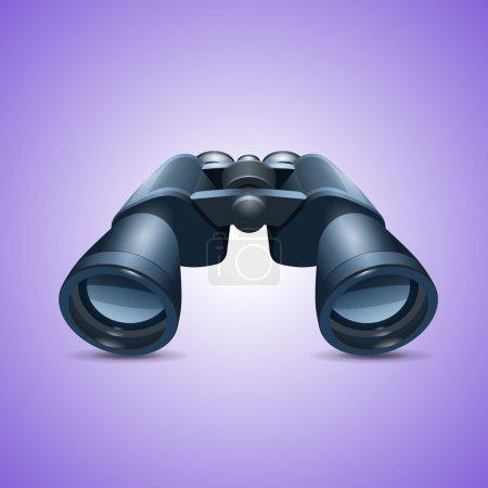 Illustration pour Icône de jumelles sur fond violet - image libre de droit
