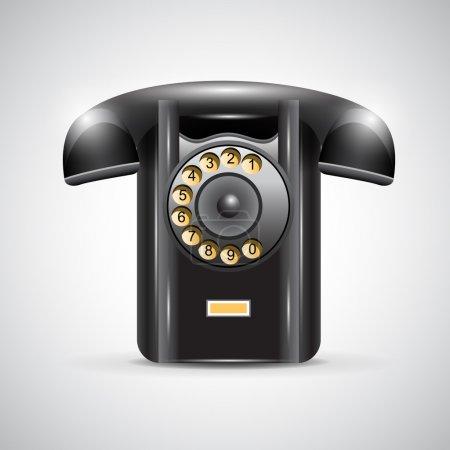 Illustration pour Vieux téléphone noir sur fond gris. Illustration vectorielle - image libre de droit