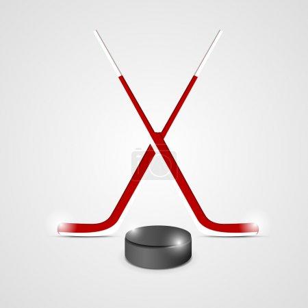 Illustration pour Bâtons et rondelle de hockey sur glace est une illustration de deux bâtons de hockey sur glace croisés et d'une rondelle de hockey - image libre de droit