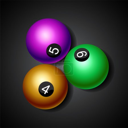 Billiard balls on black background