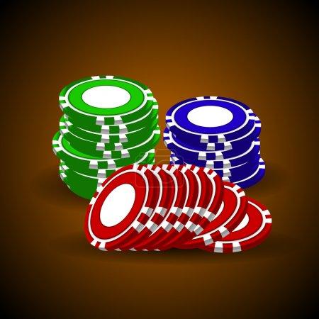 Casino Chips stapeln sich auf dunkelbraunem Hintergrund. Vektor.
