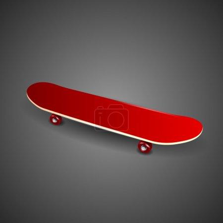 Red skateboard deck on black background