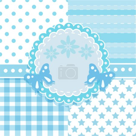 Vector set of circle frame and 4 seamless background patterns in light blue